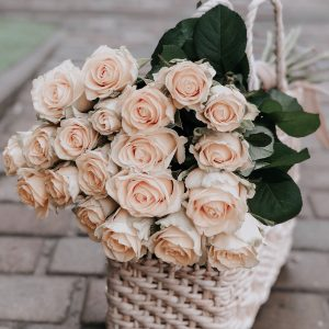 pink rose flowers on white woven basket